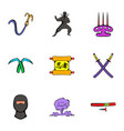 ninja art icons set cartoon style vector image