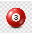 billiardred pool ball with number 3snooker vector image