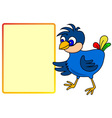 Little bird pointing to message board vector image