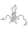 Squid ocean water animal sketch tattoo vector image vector image