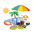 stuff with palm and umbrella vector image