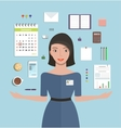 Office Manager Woman Working and Supplies Objects vector image