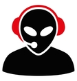 Alien Call Center Flat Icon vector image