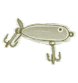 Woodcut Fishing Lure vector image vector image