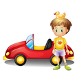 A young boy with a rubber duck and a big toy car vector image