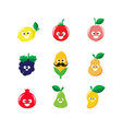 Collection of happy fruit cartoon icon 002 vector image