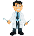 cute Dentist cartoon holding dentist tools vector image