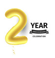 Inflatable golden ball one year with symbol 2 vector image