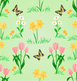 Seamless texture spring flowers narcissus tulips vector image