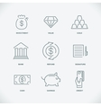 Thin modern line finance icons vector image