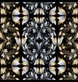 vintage floral damask seamless pattern black gold vector image