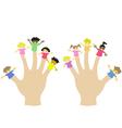 hand wearing 10 finger children puppets vector image vector image
