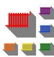 radiator sign set of red orange yellow green vector image
