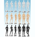 mannequins 3 color realistic sets vector image vector image