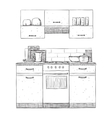 Kitchen cupboard Hand drawn furniture vector image