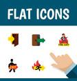 flat icon door set of fire exit emergency exit vector image
