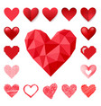 red heart sharp pink color card beautiful vector image