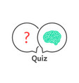 thin line quiz icon with brain vector image