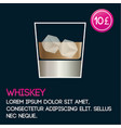 whiskey cocktail card template with price and flat vector image
