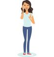 girl talking on phone vector image