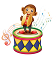 A monkey above a drum with cymbals vector image vector image
