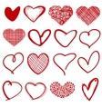 Vintage outline hand drawn sketchy hearts vector image vector image