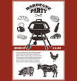 vintage bbq party poster template grill steak vector image
