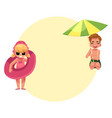 little girl playing on beach with inflatable ring vector image