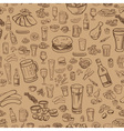 sketchy beer and snacks seamless background vector image