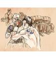 Box Boxing match - An hand drawn Line art vector image