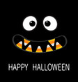 happy halloween scary monster face emotions vector image