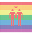knitted gay pair with heart vector image