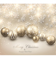Winter background with golden christmas balls vector image