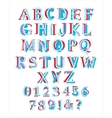 Colorful layered latin alphabet vector image