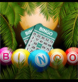 bingo balls and cards over moon and palm trees vector image