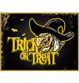 halloween card with witch head vector image