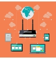 Wifi workstation with globe and router concept vector image