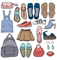 Clothes and shoes doodle vector image