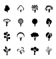 black trees icon set vector image vector image