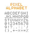 pixel english alphabet and numbers vector image