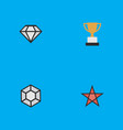 Set of simple champion icons elements first vector image