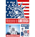 statue of liberty usa flag nyc vector image