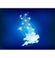 UK country map polygonal with spot lights places vector image