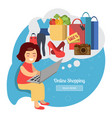 woman making online purchases vector image