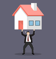Businessman carry a heavy home vector image vector image