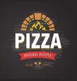 pizza emblem vector image vector image