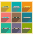 Set of flat web icons with long shadow male shoes vector image