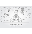 Man Reading A Book And Imagining The Story Think l vector image