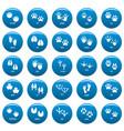 animal footprint icons set blue simple vector image