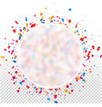 round holiday background with colorful confetti vector image